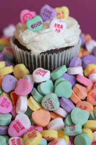candy hearts cupcake