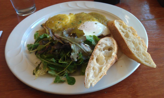 Duck Hash, Eggs, and Tomatillo Salsa at The Black Sheep. Photo by Miles Dumville.