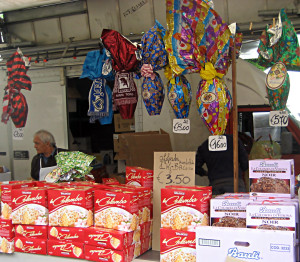 Easter Eggs and Colombo Easter Cake for sale at Pinerolo market. Photos by Marla Gulley