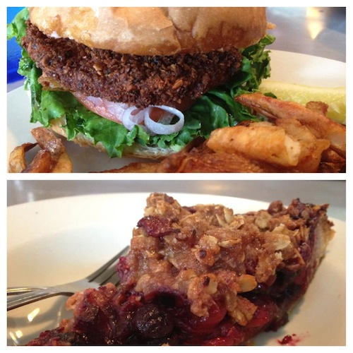 Vegan burger and pie at Comet Café. All photos by Colleen Lawrence, except where indicated.