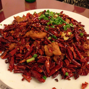 Crispy Chicken With Explosive Chili Pepper at Z & Y Restaurant. Photo by mike fabio.